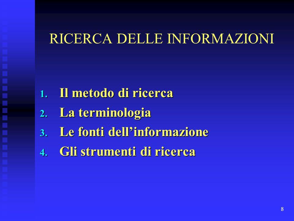 RICERCA DELLE INFORMAZIONI