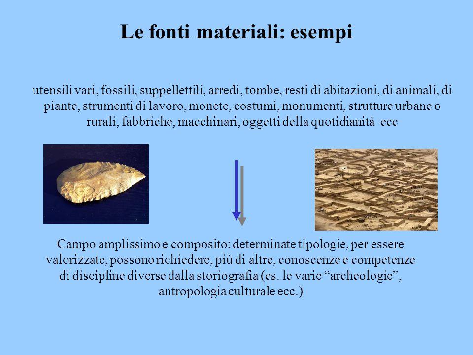 Le fonti materiali: esempi
