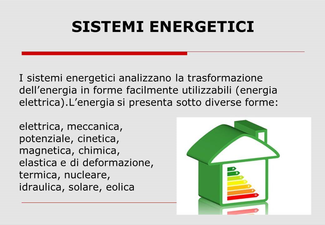 SISTEMI ENERGETICI I sistemi energetici analizzano la trasformazione