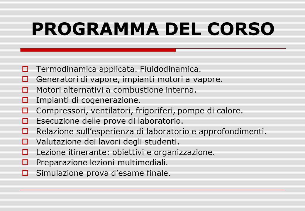 PROGRAMMA DEL CORSO Termodinamica applicata. Fluidodinamica.