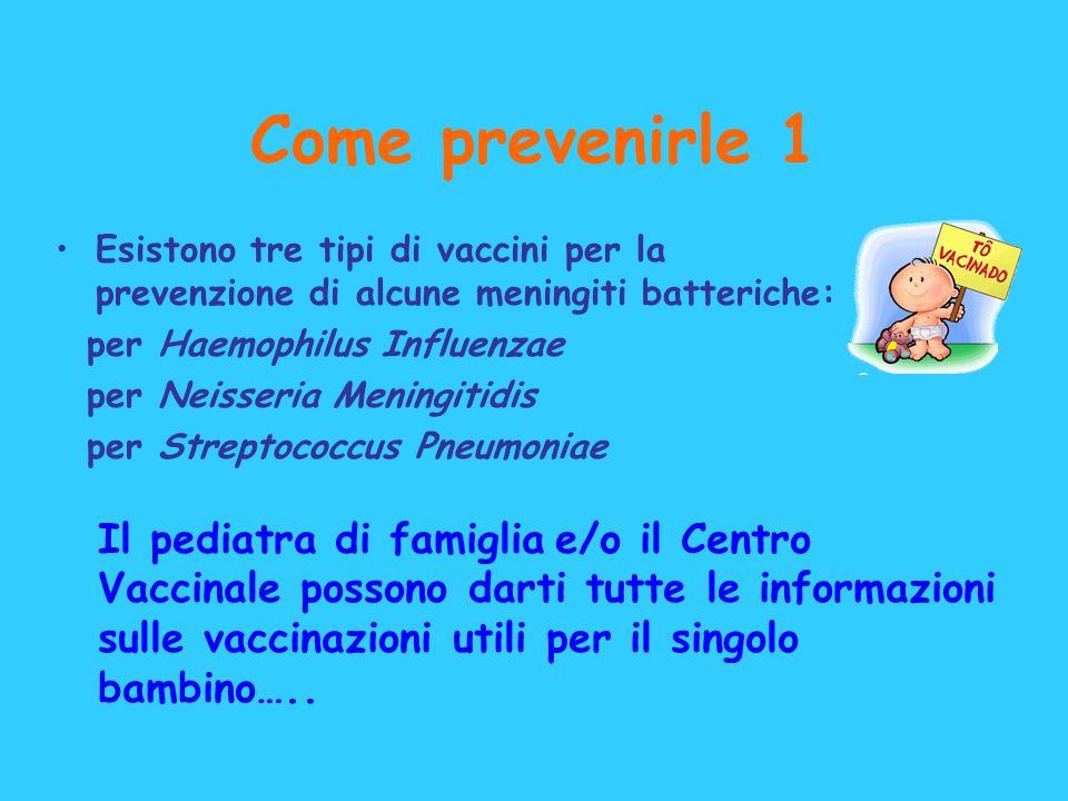 Come prevenirle 1Esistono tre tipi di vaccini per la prevenzione di alcune meningiti batteriche: per Haemophilus Influenzae.