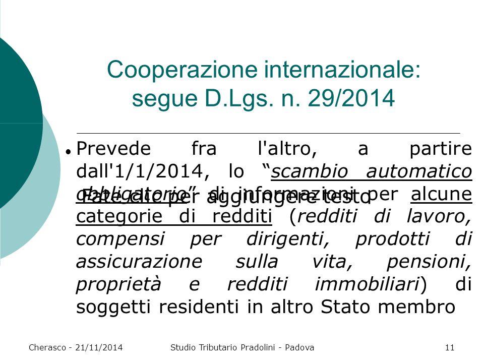 Cooperazione internazionale: segue D.Lgs. n. 29/2014