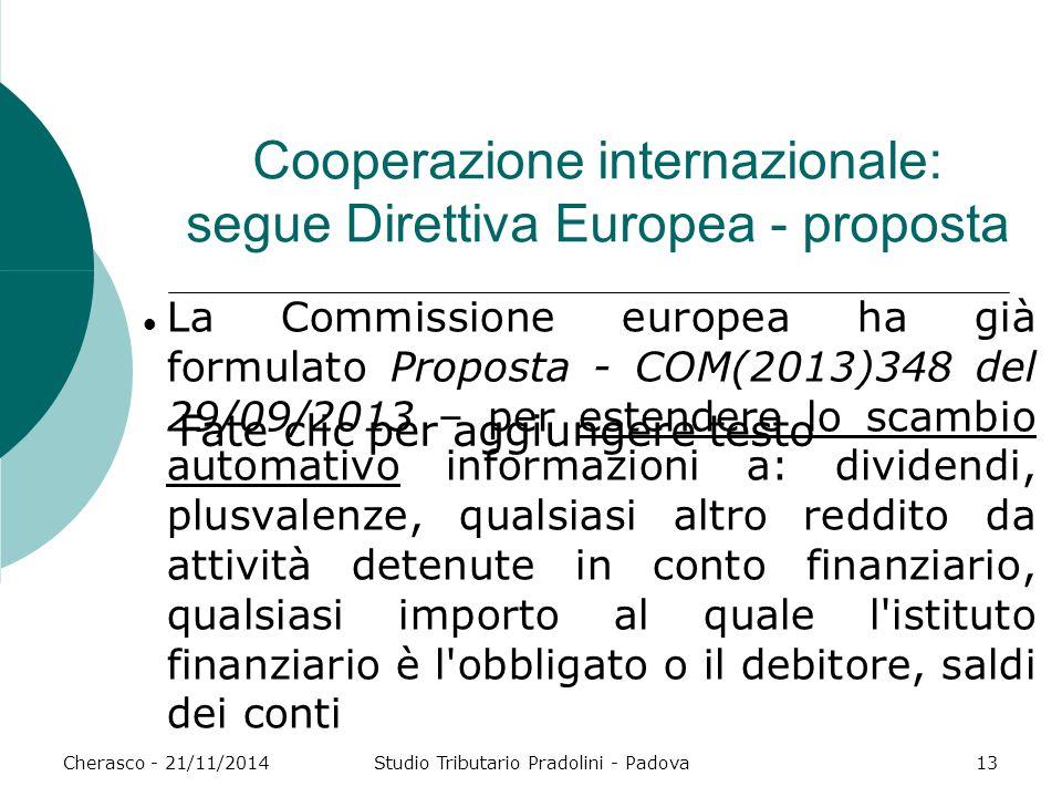 Cooperazione internazionale: segue Direttiva Europea - proposta
