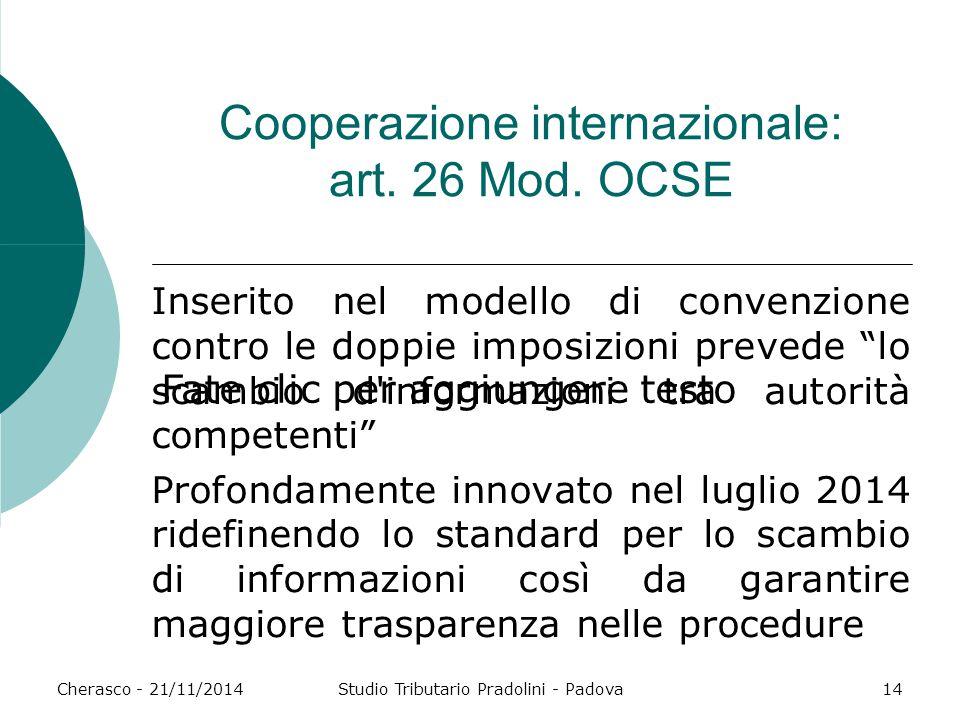 Cooperazione internazionale: art. 26 Mod. OCSE