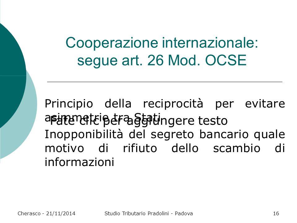 Cooperazione internazionale: segue art. 26 Mod. OCSE