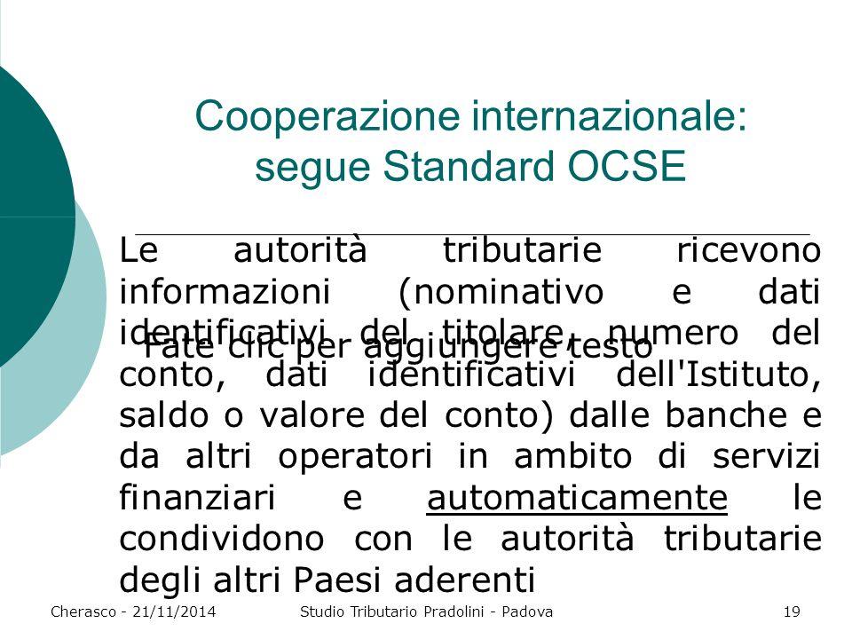 Cooperazione internazionale: segue Standard OCSE