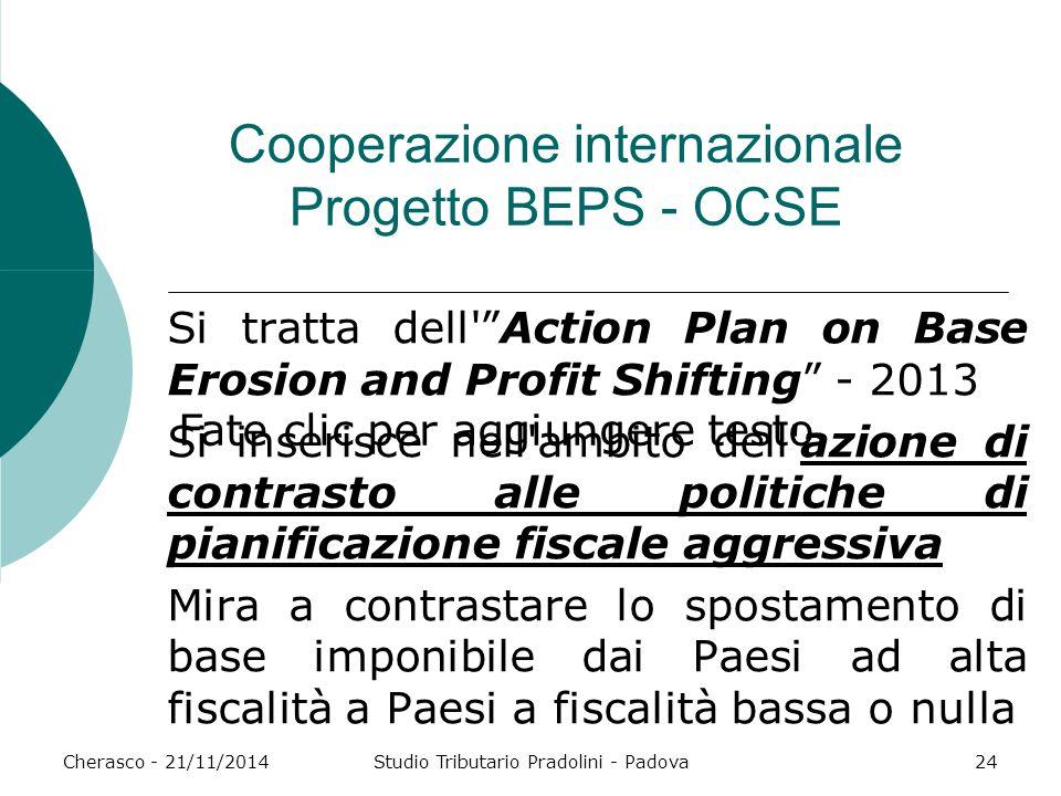 Cooperazione internazionale Progetto BEPS - OCSE