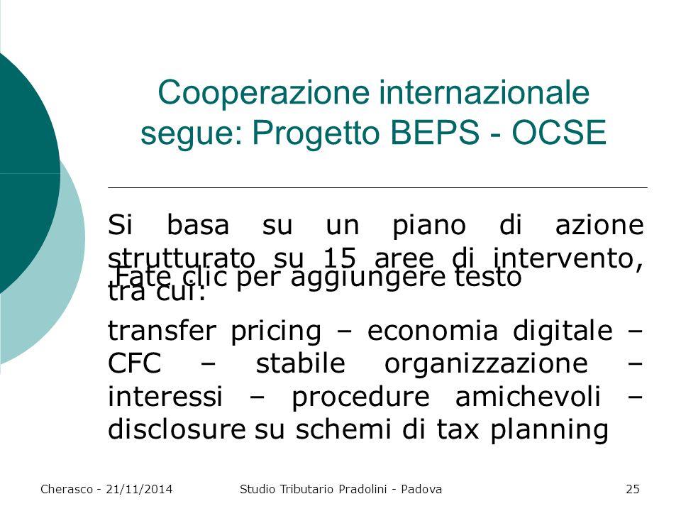 Cooperazione internazionale segue: Progetto BEPS - OCSE