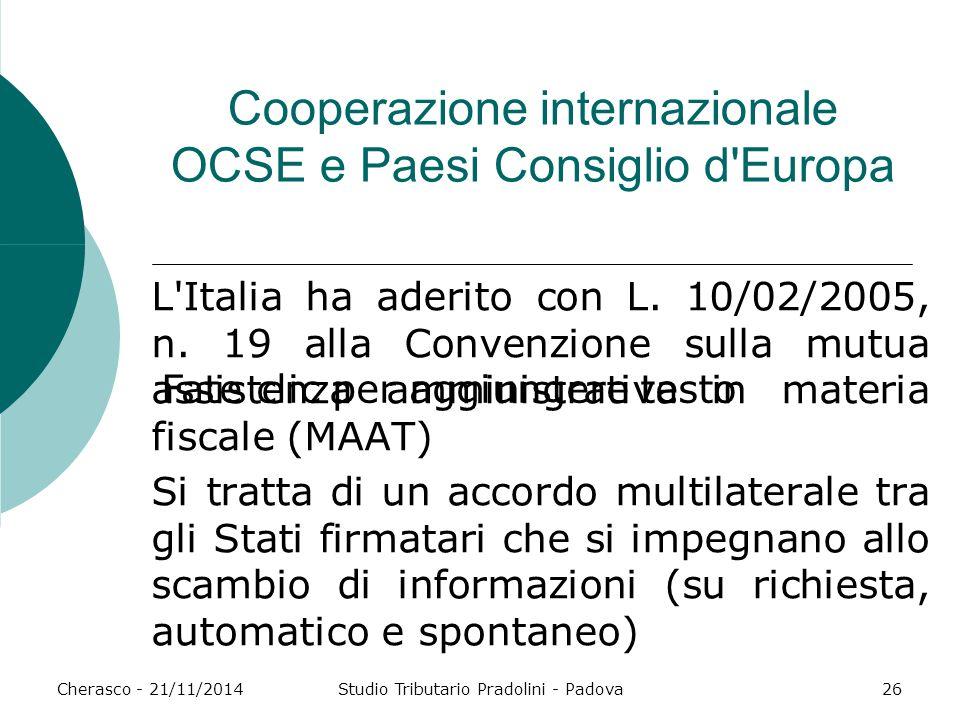Cooperazione internazionale OCSE e Paesi Consiglio d Europa
