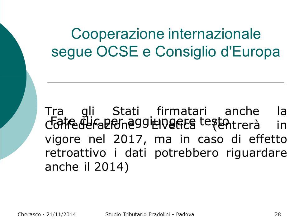 Cooperazione internazionale segue OCSE e Consiglio d Europa