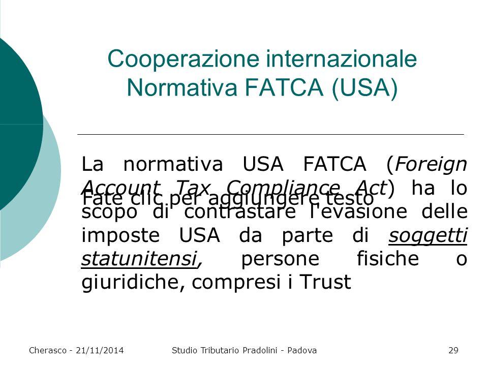 Cooperazione internazionale Normativa FATCA (USA)
