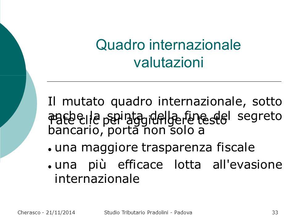 Quadro internazionale valutazioni