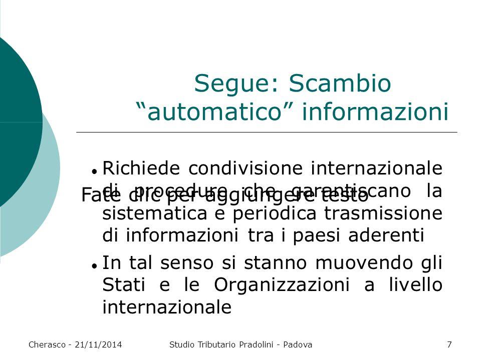 Segue: Scambio automatico informazioni