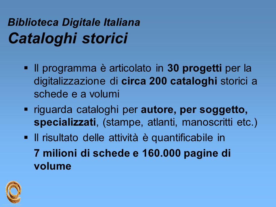 Biblioteca Digitale Italiana Cataloghi storici