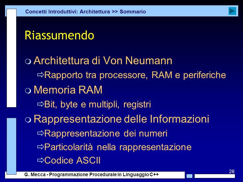 Riassumendo Architettura di Von Neumann Memoria RAM