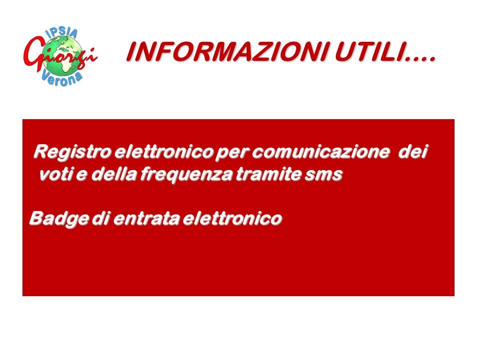 INFORMAZIONI UTILI.... Registro elettronico per comunicazione dei