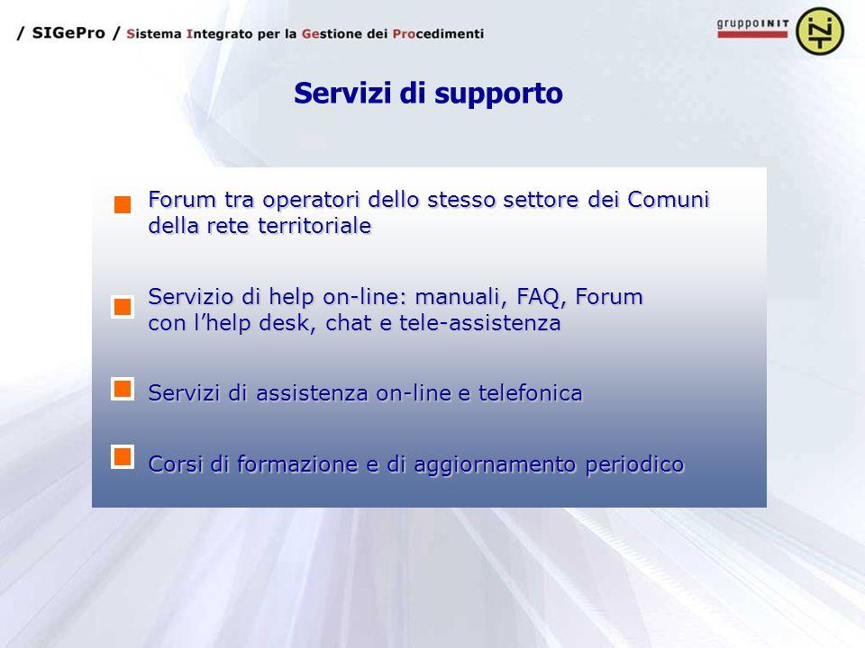 Servizi di supporto Forum tra operatori dello stesso settore dei Comuni della rete territoriale.