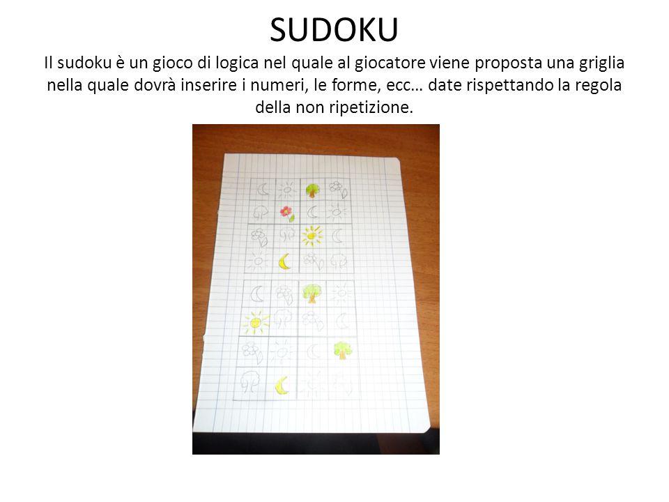 SUDOKU Il sudoku è un gioco di logica nel quale al giocatore viene proposta una griglia nella quale dovrà inserire i numeri, le forme, ecc… date rispettando la regola della non ripetizione.