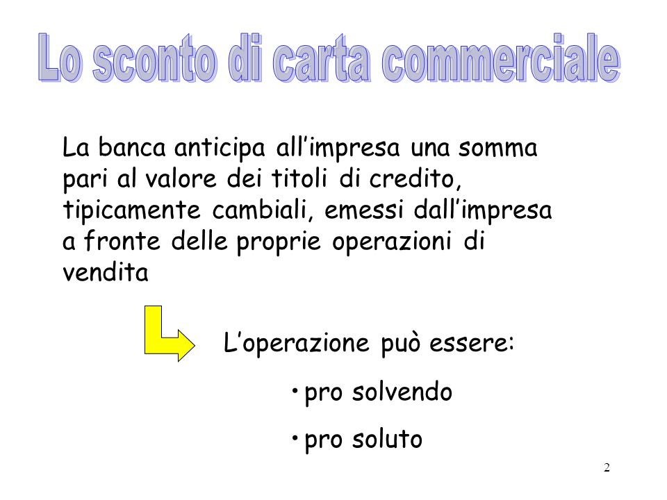 Lo sconto di carta commerciale