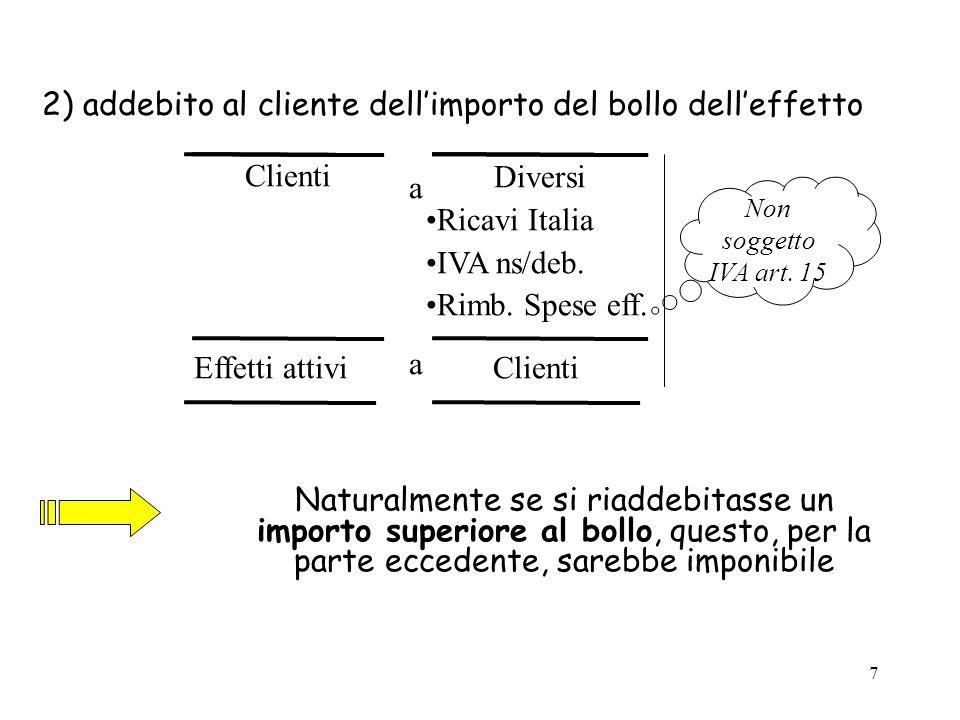2) addebito al cliente dell'importo del bollo dell'effetto