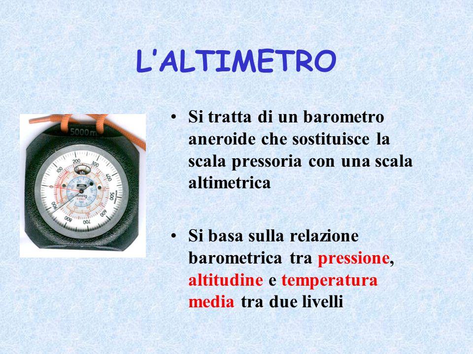 L'ALTIMETRO Si tratta di un barometro aneroide che sostituisce la scala pressoria con una scala altimetrica.