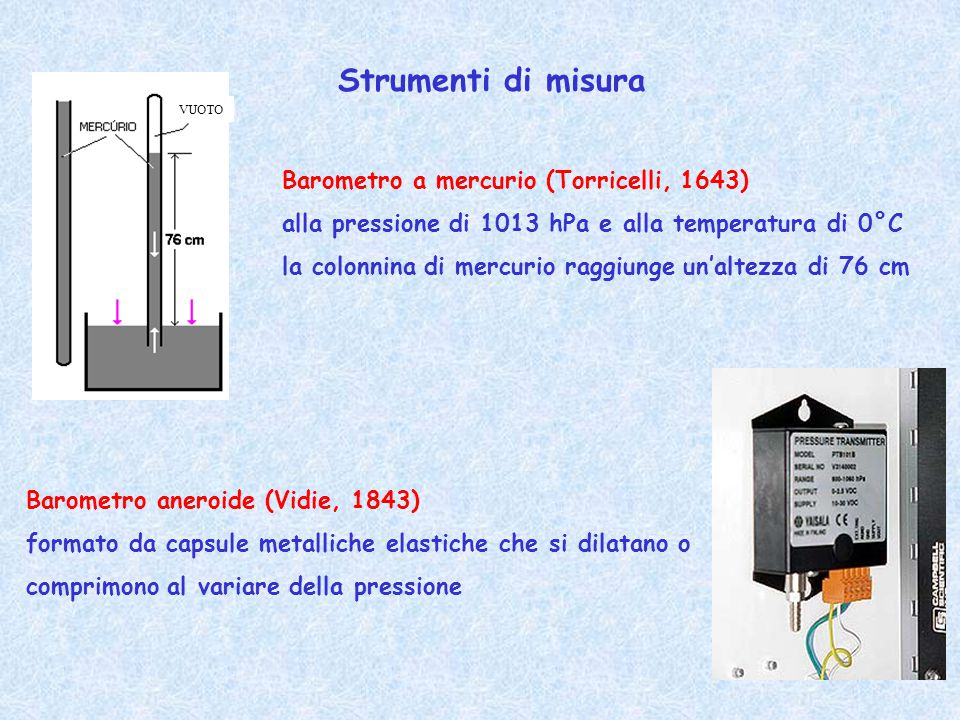 Strumenti di misura Barometro a mercurio (Torricelli, 1643)