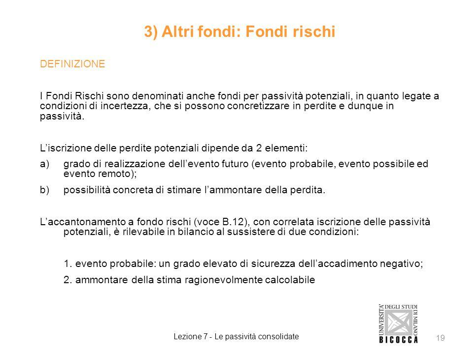 3) Altri fondi: Fondi rischi
