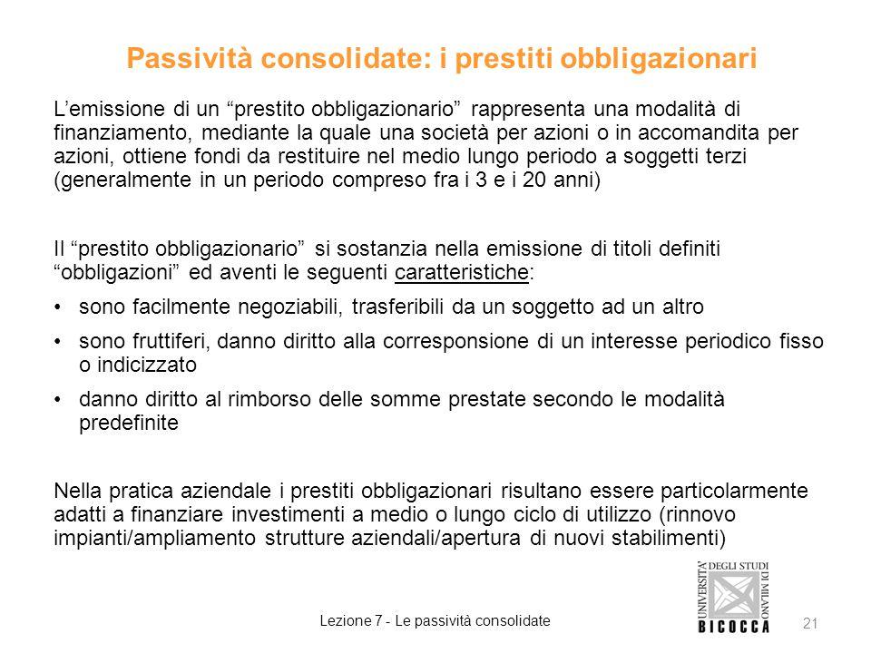 Passività consolidate: i prestiti obbligazionari