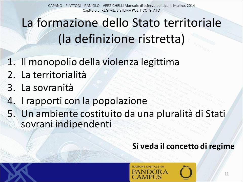 La formazione dello Stato territoriale (la definizione ristretta)