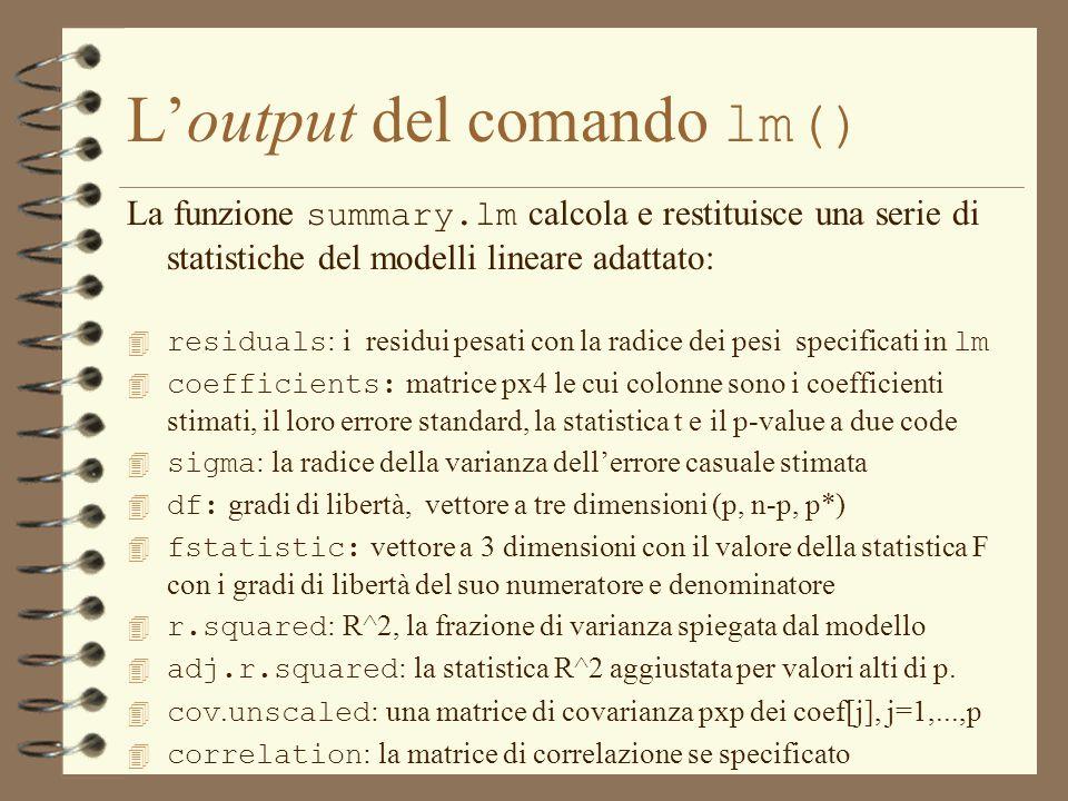 L'output del comando lm()