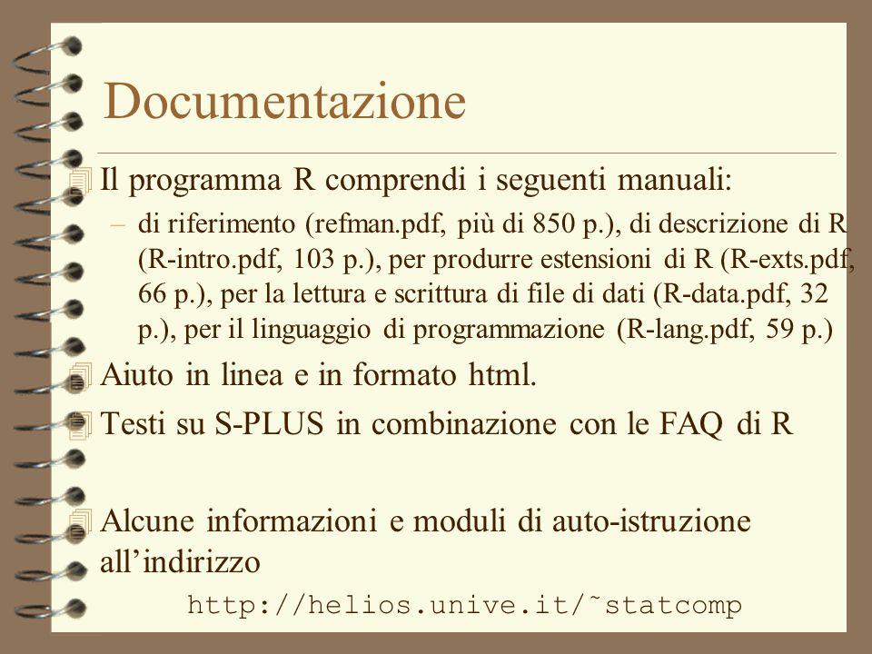 Documentazione Il programma R comprendi i seguenti manuali: