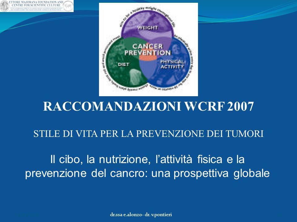 RACCOMANDAZIONI WCRF 2007 STILE DI VITA PER LA PREVENZIONE DEI TUMORI.