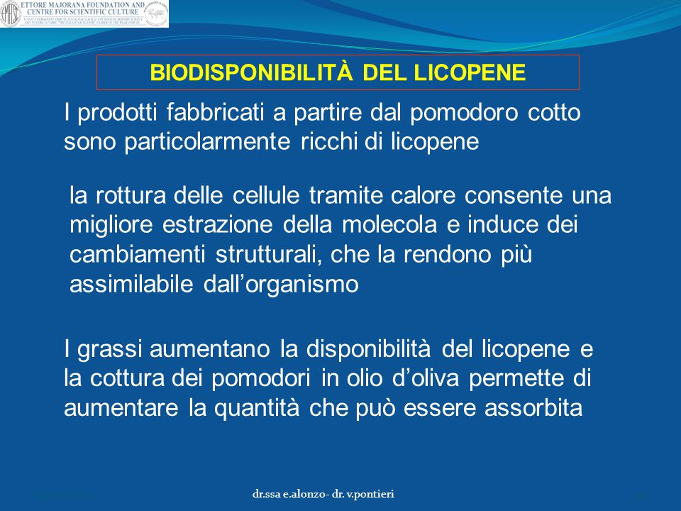 BIODISPONIBILITÀ DEL LICOPENE