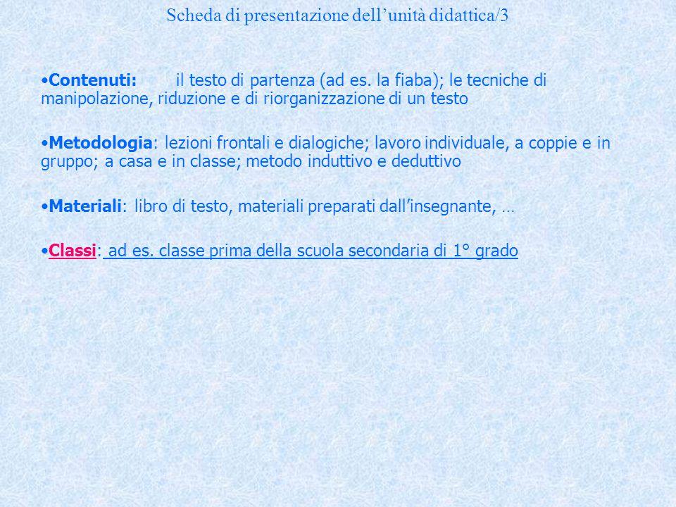 Scheda di presentazione dell'unità didattica/3
