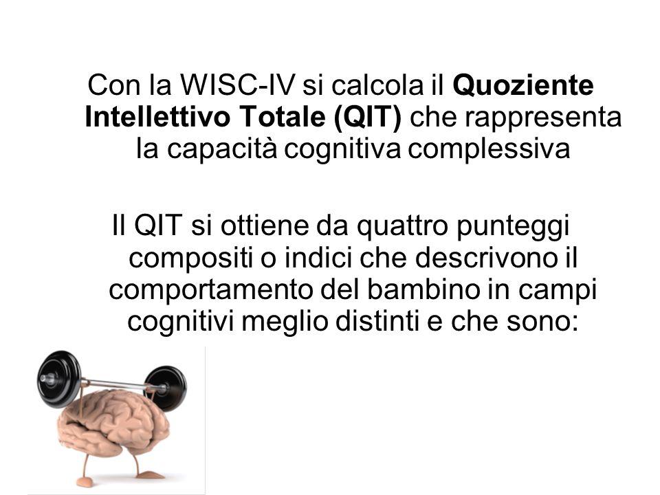 Con la WISC-IV si calcola il Quoziente Intellettivo Totale (QIT) che rappresenta la capacità cognitiva complessiva