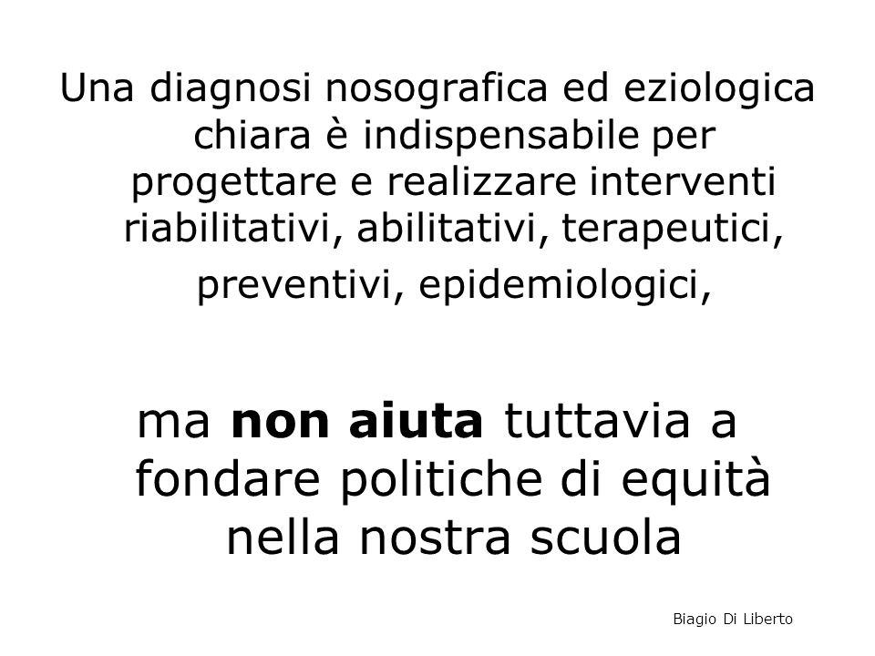 Una diagnosi nosografica ed eziologica chiara è indispensabile per progettare e realizzare interventi riabilitativi, abilitativi, terapeutici, preventivi, epidemiologici,
