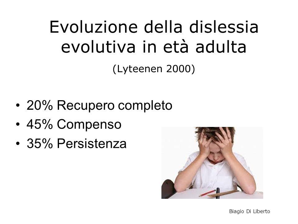 Evoluzione della dislessia evolutiva in età adulta (Lyteenen 2000)
