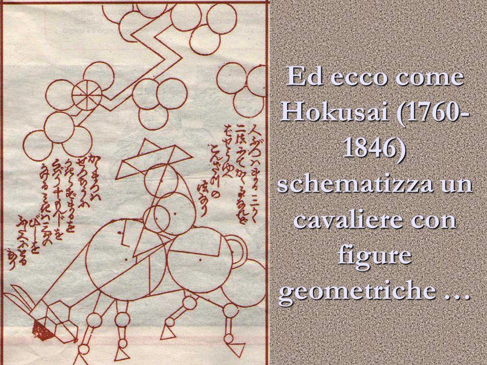 Ed ecco come Hokusai (1760-1846) schematizza un cavaliere con figure geometriche …