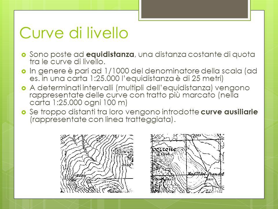 Curve di livello Sono poste ad equidistanza, una distanza costante di quota tra le curve di livello.