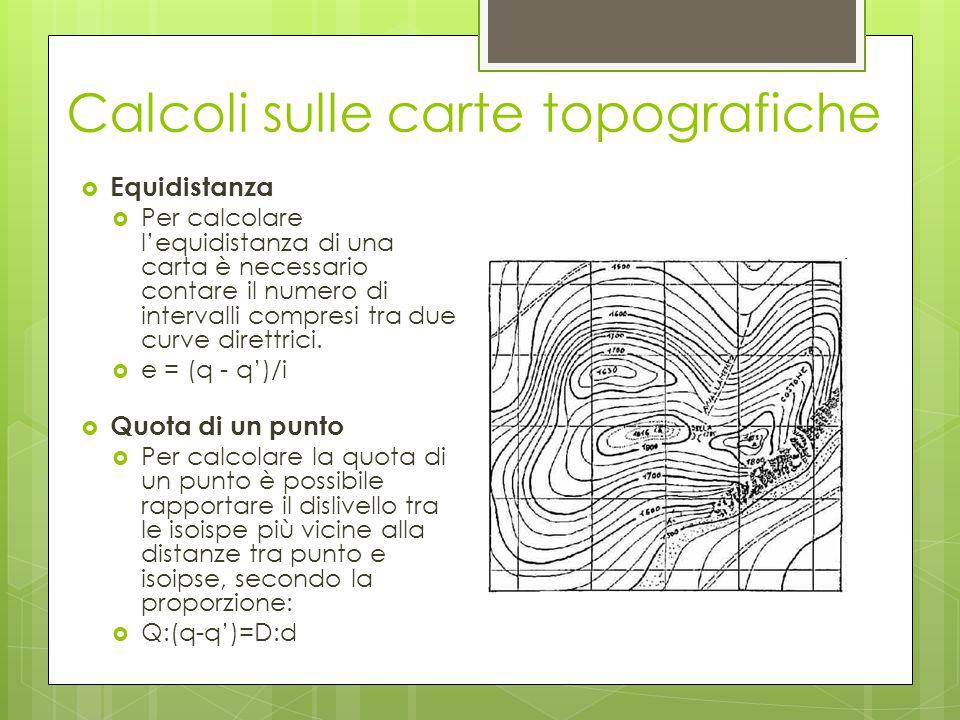 Calcoli sulle carte topografiche