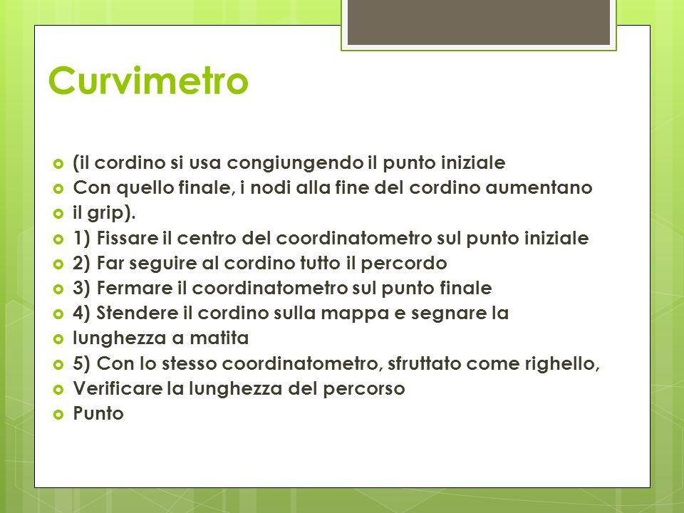Curvimetro (il cordino si usa congiungendo il punto iniziale
