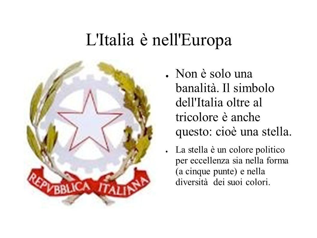 L Italia è nell Europa Non è solo una banalità. Il simbolo dell Italia oltre al tricolore è anche questo: cioè una stella.