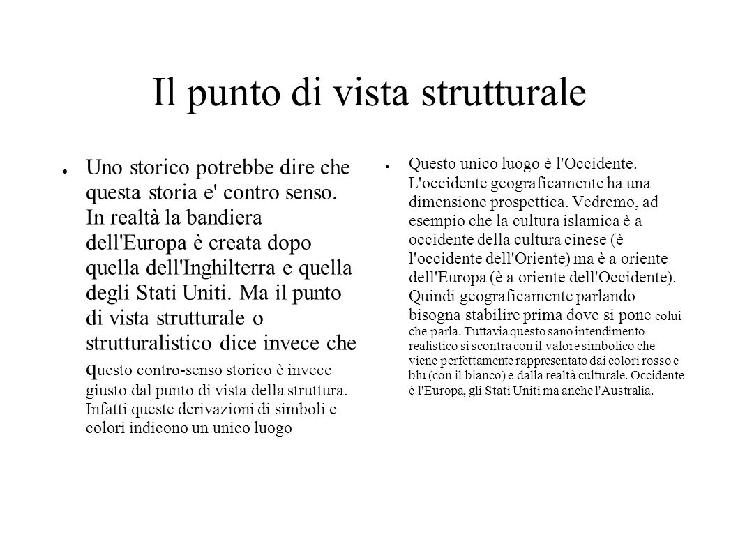 Il punto di vista strutturale