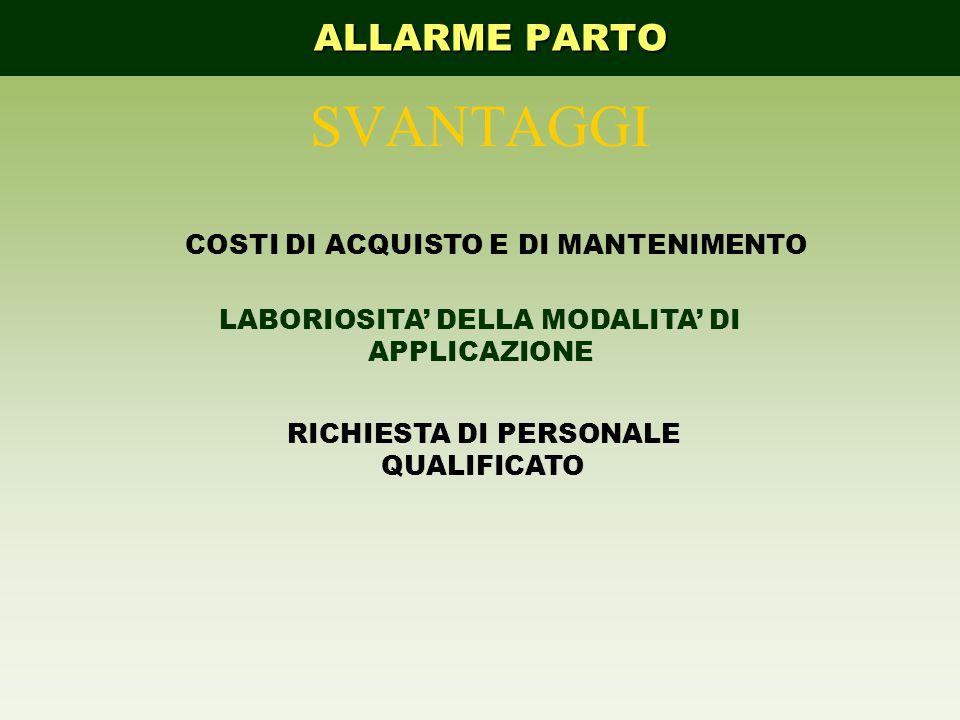 SVANTAGGI ALLARME PARTO COSTI DI ACQUISTO E DI MANTENIMENTO
