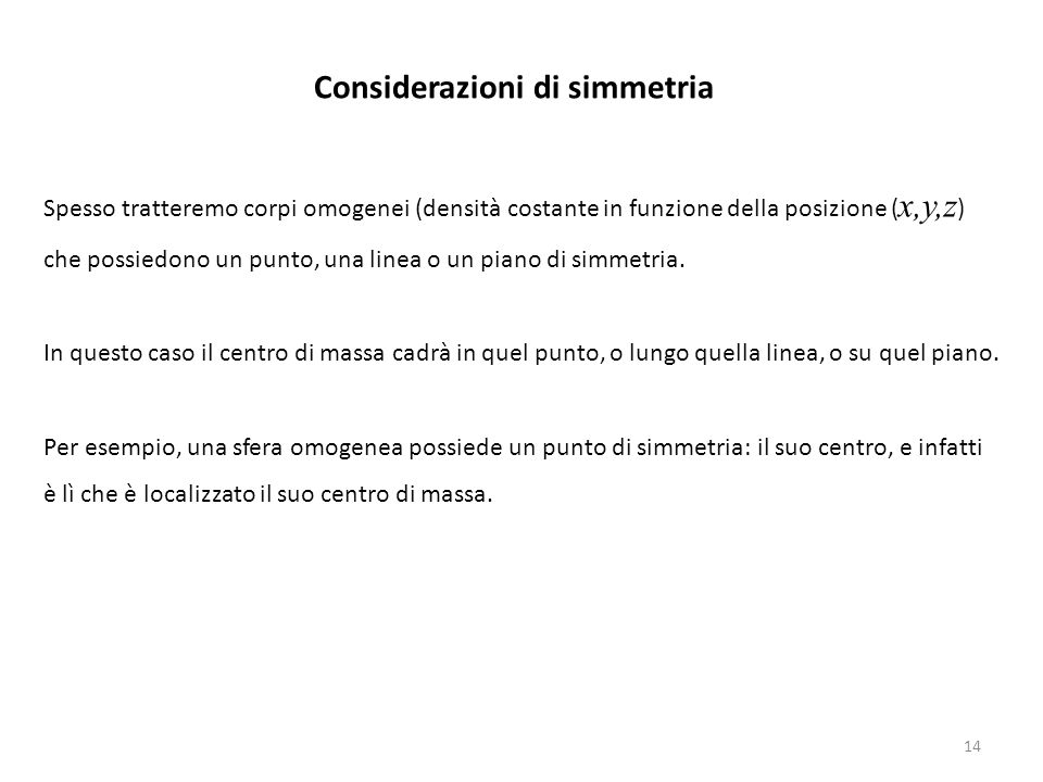 Considerazioni di simmetria