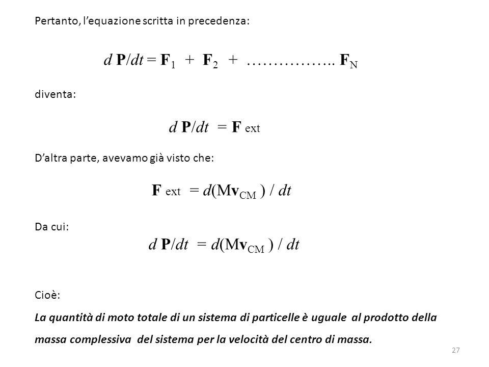 d P/dt = F1 + F2 + …………….. FN d P/dt = F ext d P/dt = d(MvCM ) / dt
