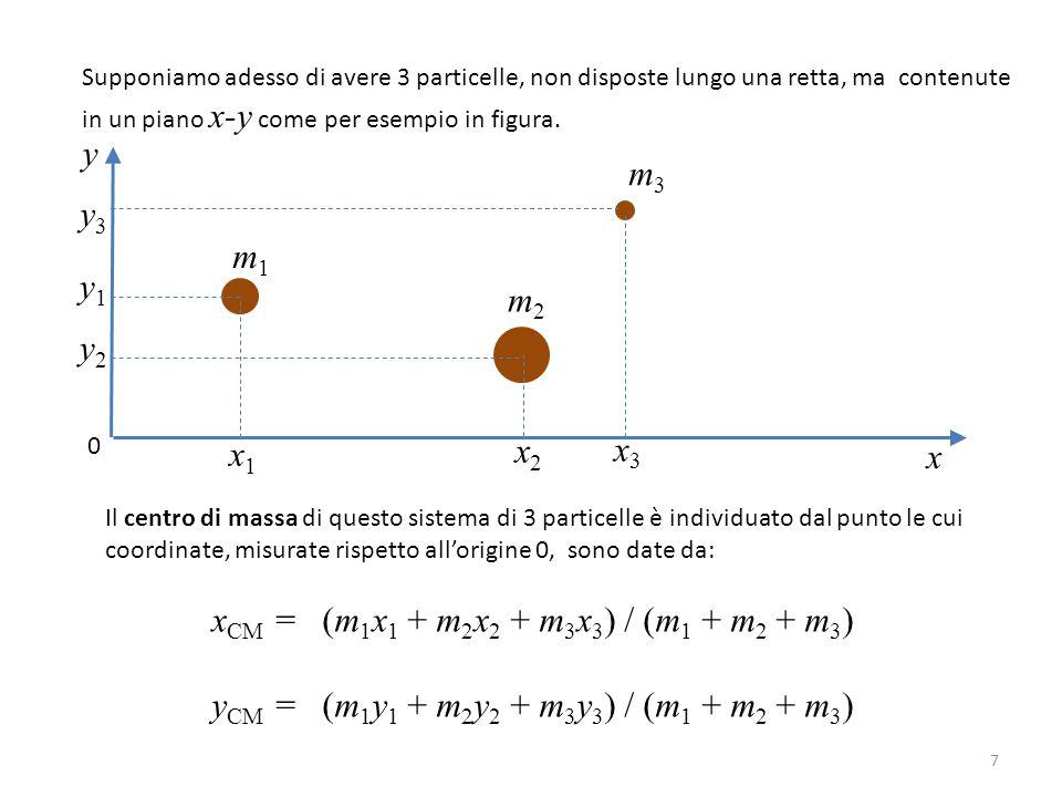 xCM = (m1x1 + m2x2 + m3x3) / (m1 + m2 + m3)