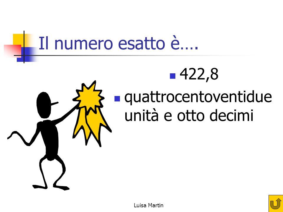 Il numero esatto è…. 422,8 quattrocentoventidue unità e otto decimi