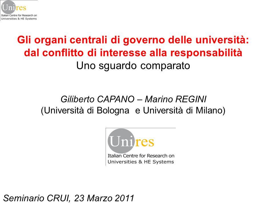 Gli organi centrali di governo delle università: