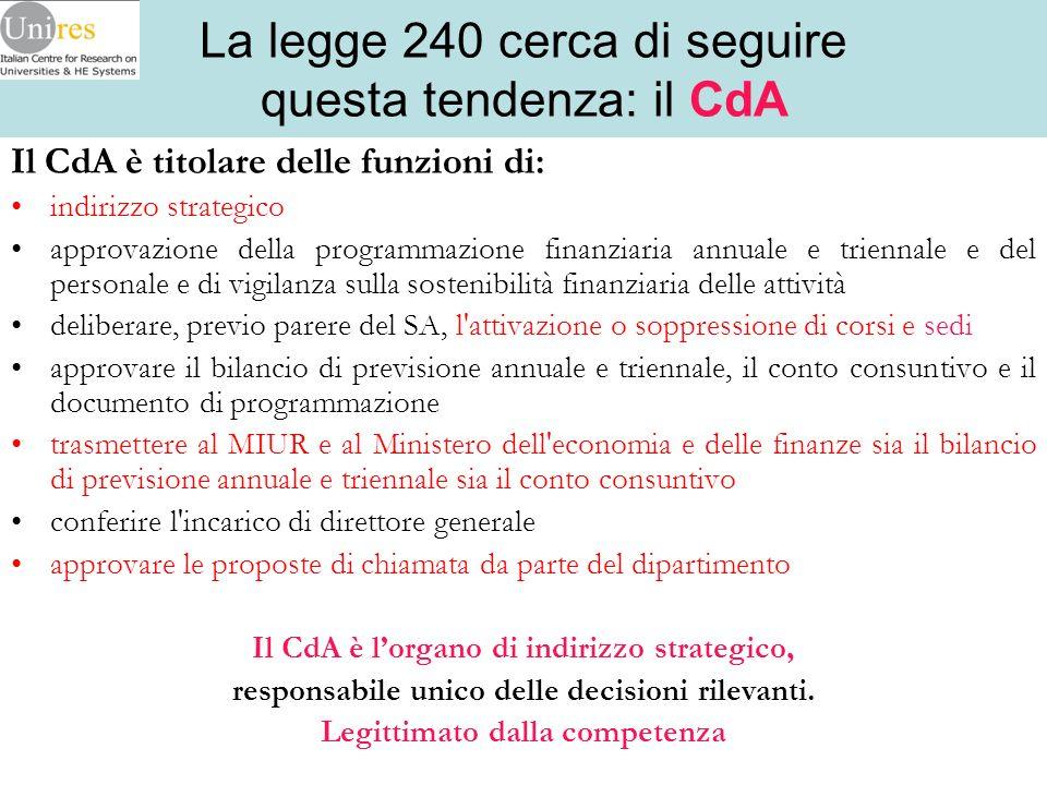 La legge 240 cerca di seguire questa tendenza: il CdA